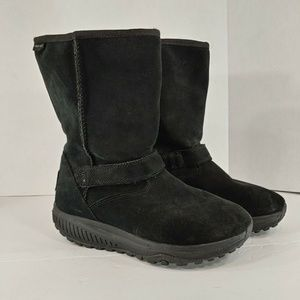 skechers shape up womens boots size 8 black suede